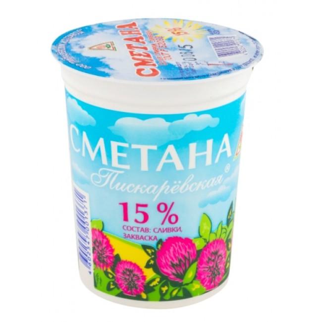 Сметана 15% 450г стакан Пискаревский м/з БЗМЖ