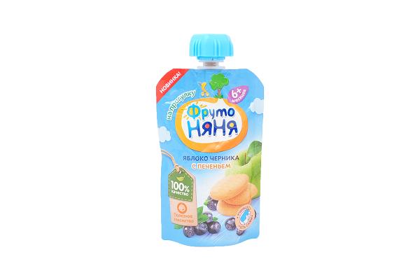Пюре Фр.Няня яблоко/черника с печеньем 90г дой-пак