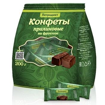 Конфеты Петродиет пралиновые на фруктозе 200г