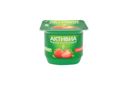 Биойогурт Активиа 2,9% 150г клубника БЗМЖ