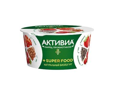 Биойогурт Активиа SuperFood 2,2% 140г киви/ябл/вингр/мат/чиа БЗМЖ