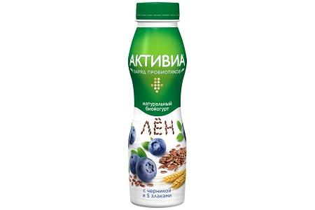 Биойогурт Активиа пит. 2,1% 260г черника/5злак/лен БЗМЖ