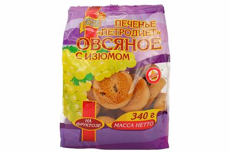 Печенье Овсяное с изюмом на фруктозе 340г
