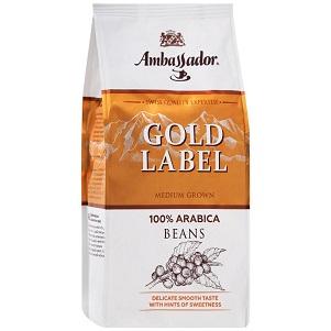 Кофе Амбассадор Gold Label среднеобжар. зерно 200г пакет