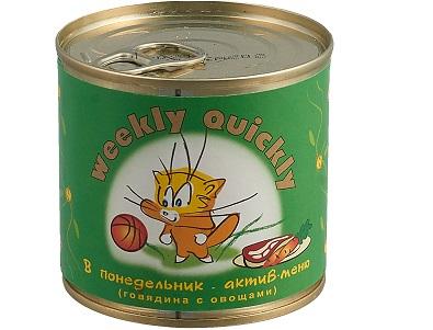Корм Weekly-Quickly д/кошек МКБ говяд/овощи 250г