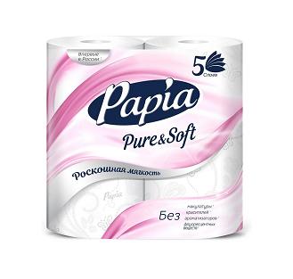 Бумага/т Papia PURE&SOFT бел. 5-сл 4шт