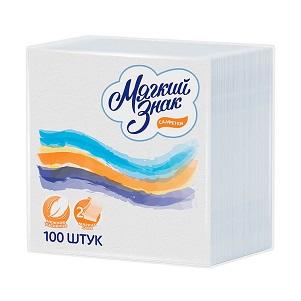 Салфетки Мягкий Знак Deluxe белые 25*25 2сл 100шт
