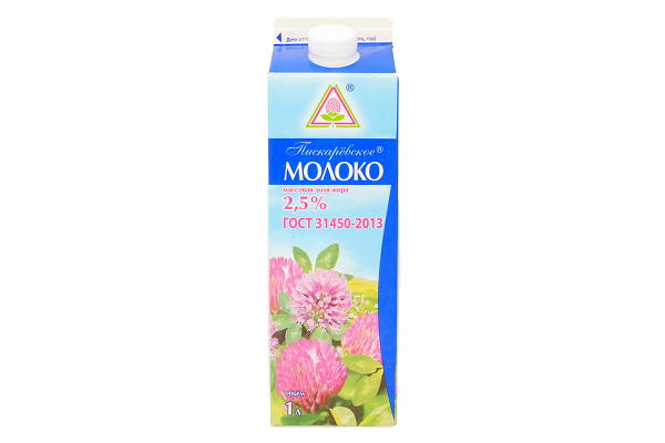Молоко 2,5% 1л п/п Пискаревский м/з БЗМЖ
