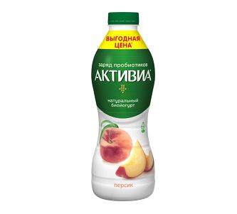 Биойогурт Активиа пит. 2,1% 870г персик БЗМЖ