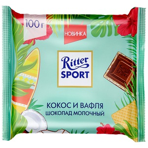 Шоколад Риттер-спорт кокос /вафля молочный100г