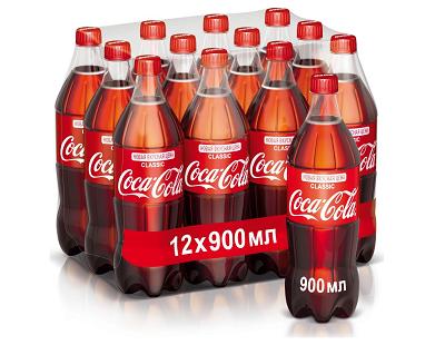 Напиток Кока-Кола 0,9л*12шт упаковка